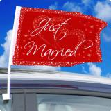 "Rote Autofahne ""Just Married"" 2er Pack"