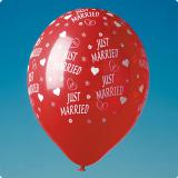 """Rote Luftballons """"Just Married"""" 5er Pack"""