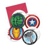 """Runde Einladungskarten """"Mächtige Avengers"""" mit Umschlag 6er Pack"""