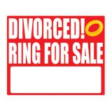 "Selbstkl. Wanddeko ""DIVORCED! Ring for sale"" 36,5 cm"