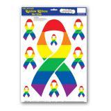 Selbstklebende Wanddeko Aids-Schleife Regenbogen 9-tlg.