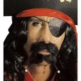 """Selbstklebender Schnurrbart """"Gefährlicher Pirat"""" mit Perlen"""