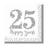 """Servietten """"25 Happy Years"""" 16er Pack"""