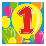 """Cocktailservietten """"Happy Birthday Bunte Ballons"""" 1. Geburtstag 20er Pack"""