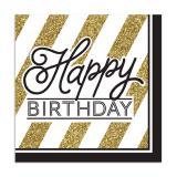 """Servietten """"Black & Gold Happy Birthday"""" 16er Pack"""