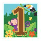 """Servietten """"Fröhlicher Dschungel"""" 1st Birthday 16er Pack"""
