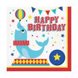"Servietten ""Niedliche Zirkus-Tiere"" Happy Birthday"" 16er Pack"