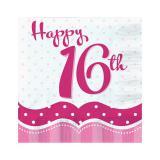 """Servietten """"Pretty Pink"""" 16. Geburtstag 18er Pack"""