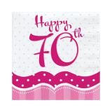 "Servietten ""Pretty Pink"" Happy 70th! 18er Pack"