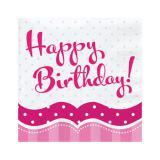 """Servietten """"Pretty Pink"""" Happy Birthday! 18er Pack"""