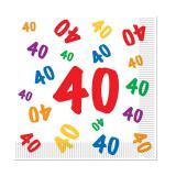 """Servietten 40. Geburtstag """"Zahlenexplosion"""" 16er Pack"""