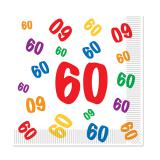 """Servietten 60. Geburtstag """"Zahlenexplosion"""" 16er Pack"""