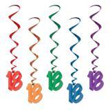 Spiralförmiger Deckenhänger 18. Geburtstag 5er Pack