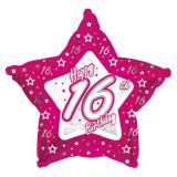 "Sternförmiger Folien-Ballon Happy Birthday ""Pretty Pink 16"" 45 cm"