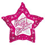"Sternförmiger Folien-Ballon Happy Birthday ""Pink Star"" 45 cm"