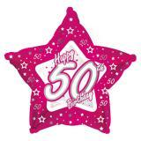 "Sternförmiger Folien-Ballon Happy Birthday ""Pretty Pink 50"" 45 cm"