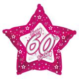 "Sternförmiger Folien-Ballon Happy Birthday ""Pretty Pink 60"" 45 cm"