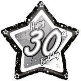 "Sternförmiger Folien-Ballon ""Happy Birthday Stars 30"" 45 cm"
