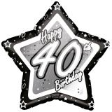 "Sternförmiger Folien-Ballon ""Happy Birthday Stars 40"" 45 cm"