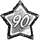 "Sternförmiger Folien-Ballon ""Happy Birthday Stars 90"" 45 cm"