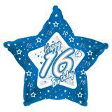 "Sternförmiger Folien-Ballon Happy Birthday ""Pretty Blue 16"" 45 cm"