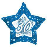 "Sternförmiger Folien-Ballon Happy Birthday ""Pretty Blue 30"" 45 cm"