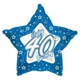 "Sternförmiger Folien-Ballon Happy Birthday ""Pretty Blue 40"" 45 cm"
