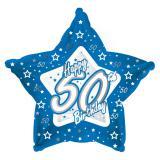 "Sternförmiger Folien-Ballon Happy Birthday ""Pretty Blue 50"" 45 cm"