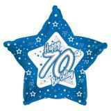 "Sternförmiger Folien-Ballon Happy Birthday ""Pretty Blue 70"" 45 cm"