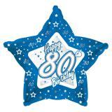 "Sternförmiger Folien-Ballon Happy Birthday ""Pretty Blue 80"" 45 cm"