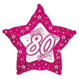 "Sternförmiger Folien-Ballon Happy Birthday ""Pretty Pink 80"" 45 cm"