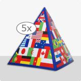 "Tischdeko Pyramide ""Internationale Flaggen"" 13,5 cm 5er Pack"