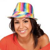 Trilby-Hut Regenbogen mit Pailletten