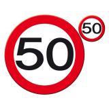 """Untersetzer-Set 50. Geburtstag """"Verkehrsschild """" 30 cm 8-tlg."""