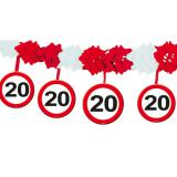 Wabenpapier-Girlande Verkehrsschild 20. Geburtstag 4 m