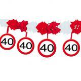 Wabenpapier-Girlande Verkehrsschild 40. Geburtstag 4 m