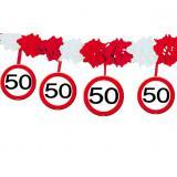 Wabenpapier-Girlande Verkehrsschild 50. Geburtstag 4 m