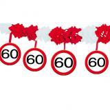 Wabenpapier-Girlande Verkehrsschild 60. Geburtstag 4 m