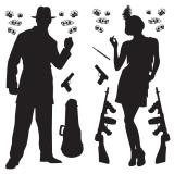 Wanddeko 20er Jahre Gangster Silhouetten 24-tlg. 160 cm