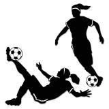 """Wanddeko Silhouetten """"Weibliche Fußballspieler"""" 2-tlg."""