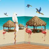 Wanddeko Strohhütten und tropische Vögel 127 cm 10-tlg.