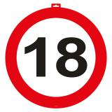 Wanddeko Verkehrsschild 18. Geburtstag 47 cm