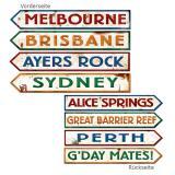 Wanddeko Wegweiser Australien 10 x 61 cm 4er Pack