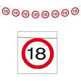 Wimpel-Girlande Verkehrsschild 18. Geburtstag 12 m