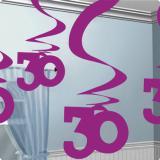 Wirbel-Deckenhänger 30. Geburtstag 60cm 5er Pack