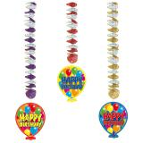 "Wirbel-Deckenhänger ""Happy Birthday Bunte Ballons"" 76 cm 3-tlg."