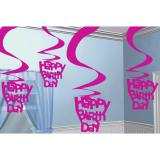 Wirbel-Deckenhänger Happy Birthday 60cm 5er Pack