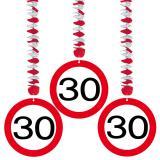 Wirbel-Deckenhänger Verkehrsschild 30. Geburtstag 3er Pack