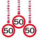 Wirbel-Deckenhänger Verkehrsschild 50. Geburtstag 3er Pack