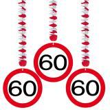 Wirbel-Deckenhänger Verkehrsschild 60. Geburtstag 3er Pack